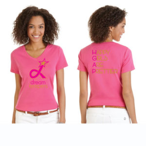 Fuschia V-neck Dream Keepers T-Shirt with our slogan on the reverse side.