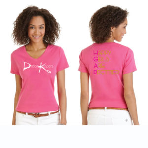 Fuschia V-neck Dream Keepers T-Shirt with our slogan on the reverse side. Happy Girls Are Prettier
