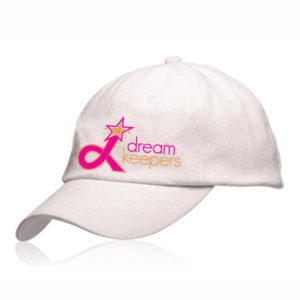 White Dream Keepers hat with our logo on the front side